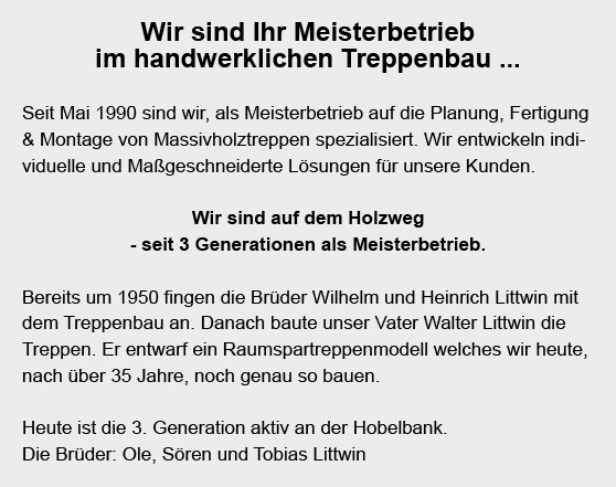 Massivholztreppen für 24582 Hoffeld, Mühbrook, Blumenthal, Wattenbek, Bordesholm, Grevenkrug, Dätgen und Sören, Schmalstede, Schönbek